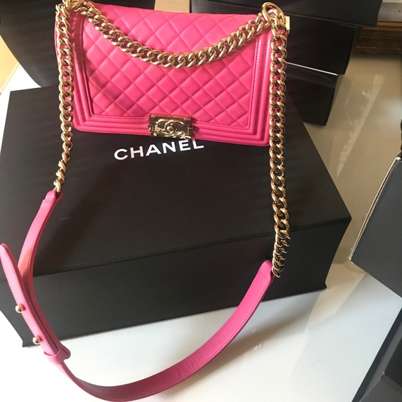 4439bc625579 CHANEL Bags | Sold Auth Pink Medium Boy 24 Series New | Poshmark